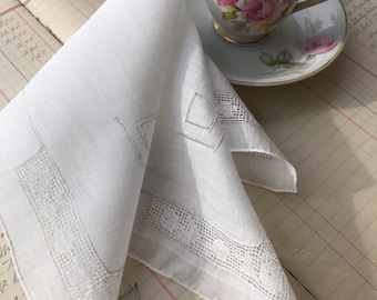 Vintage Unused White Drawn Work Handkerchief from Kimball 1284