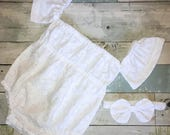 Off The Shoulder Baby Romper, Baby Girl Sunsuit, Boho Romper, White Playsuit, Complete Baby or Toddler Set,Knot Bow Headband,Summer Playsuit