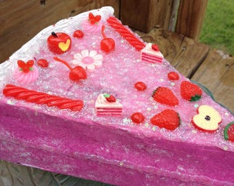 Pink Strawberry dummy cake slice decoden sculpture fake cake display glitter galore