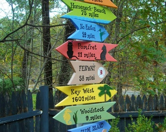 CUSTOM PERSONALIZED SIGNS, Set of 10 Hand Painted Signs, Directional Signs, Arrows, Beach Signs, Yard Art,