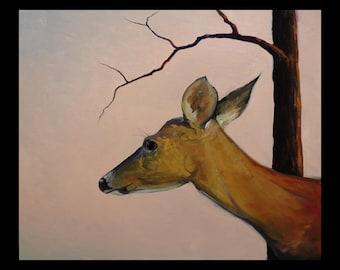 Hawkins Impressionist Deer Doe Wildlife  Giclee print on archival 100# heavy stock Gift Sale