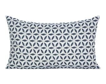 Hanami lumbar pillow cover in Pacific Blue Linen