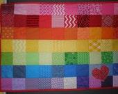 Crazy Rainbow Patchwork Quilt