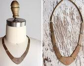 Vintage Brass Panel Necklace / 1970s Boho Necklace
