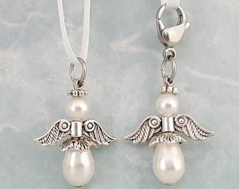Angel Charm, White Swarovski Crystal Pearl, Guardian Angel, Rosary Marker, Pearl Angel Charm, White Angel Charm, Pearl Angel Pendant, Angel
