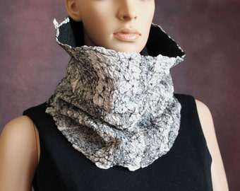 Handmade nunofelted art-scarf gray white black cowl scarf circle scarf  infinity scarf Ready to ship