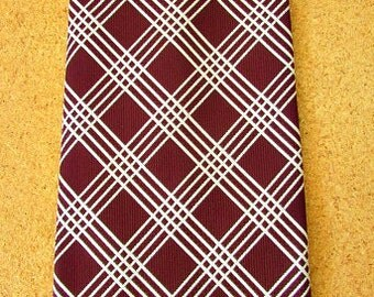 "vintage 70s wide necktie wine white plaid sage allen by damon 4.5"" wide disco leisure suit nos  free shipping"