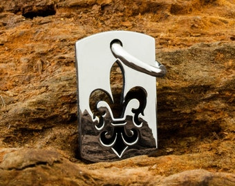 Handmade Sterling 925 Silver Fleur De Lis DogTag Pendant or Charm