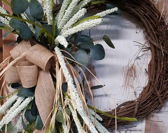 Front door wreaths, Summer wreaths, Home Decor wreaths, Wreath Great for All Year Round - Everyday Wreath, Door Wreath, Eucalyptus wreath