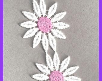Vintage Pink White Large Daisy Flowers 1970s Cotton Set 4