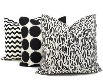 Schumacher Studio Bon Indoor Outdoor Black Grass Pillow Cover, Square Lumbar or Eurosham, Schumacher