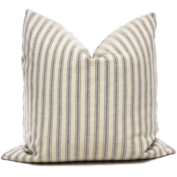 French Shabby Chic Pillows : Shabby Chic Navy and Cream French Ticking Decorative Pillow