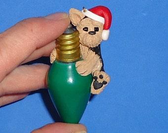 Polymer Clay Yorkie Dog on Green Glass Lightbulb
