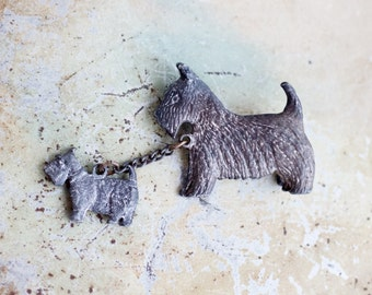 Scottish Terrier Lapel Pin with Tiny Puppy - Antique Pewter Brooch