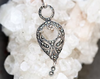 Gothic Teardrop Necklace - Sterling Silver and Marcasite Pendant on Chain - Art Deco Necklace Gothic Filigree