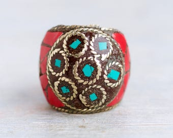 Chunky Boho Ring - Red and Turquoise Mosaic - inlay in Brass - Ring Size 10