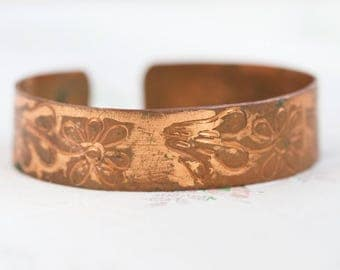 Copper Cuff Bracelet - Etched Flowers - Vintage Bangle