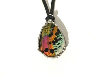 Sunset Moth Butterfly Wing Necklace on Leather Thong