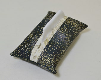 Gold Speckle Fabric Tissue Holder, Pocket Tissue Pouch Cover, Black Purse Accessory, Glitter Stars, Floral Teacher Thank You Gift for Her