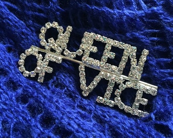 "Rhinestone ""Queen of Vice"" Brooch"
