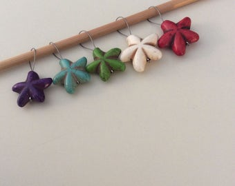 Colorful Destressed Starfish Knitting Stitch Markers