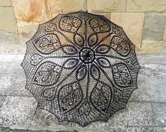 Black Crochet Umbrella, Victorian Parasol, Goth Umbrella, Steampunk Umbrella, Victorian Vintage, Wedding Accessories, Photo  Session
