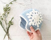 CROCHET PATTERN - Let It Snow Beanie - crochet hat baby crochet pattern ear flap beanie snowflake hat accessories