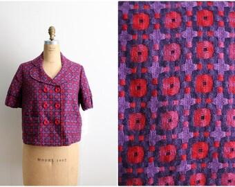 Vintage Fuchsia Jacket / Plaid Jacket / 60s style Jacket / Crop Jacket/ Size S/M