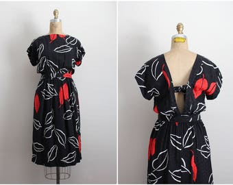 70s Silk Dress / Open Back Dress / Black and Red Dress / Size XS/S