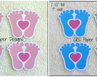 Die Cut Baby Feet Girl or Boy Scrapbook Page Embellishments for Card Making Scrapbook or Paper Crafts