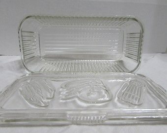 Clear Refridgerator Glass - Federal Clear Glassware - Embossed with Vegetables - Federal Glassware Clear Retangular Refridgerator Dish
