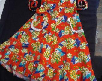 "Vintage English Bicolissima Junior""s Red Farm Collarerd Halter Sun Dress"