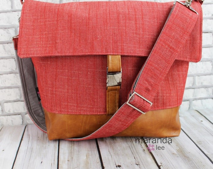 Lulu Large Flap Messenger Satchel  - Red Denim and PU Leather  Travel Business Nappy Bag Stroller Attachment