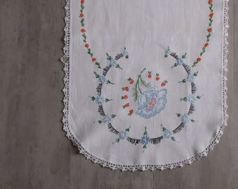 Vintage White Embroidered Orange and Baby Blue Table Runner/Dresser Runner with white crocheted edge