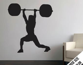 Clean and Jerk Wall Decal  - Crossfit - Power Lifter - Vinyl Sticker