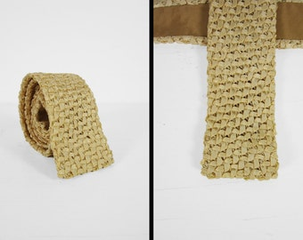 Vintage 60s Woven Ivory Tie Handmade Crushed Ribbon Necktie