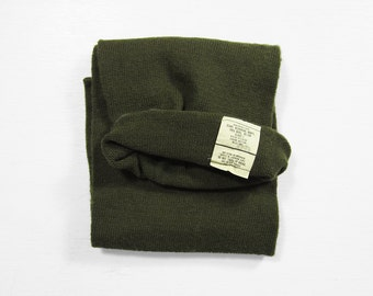 Vintage 70s US Army Scarf OD Green Wool Military Knit Esquire Knitting Mills