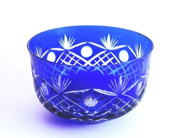 Crystal Cobalt Blue Bohemian Cut To Clear Bowl Etched Fan Star Criss Cross