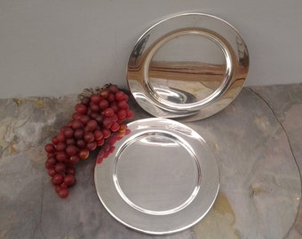 Vintage wine bottle coasters - silver plate coasters - pair of H engraved coasters - round trays - engraved H - hostess gift - change trays