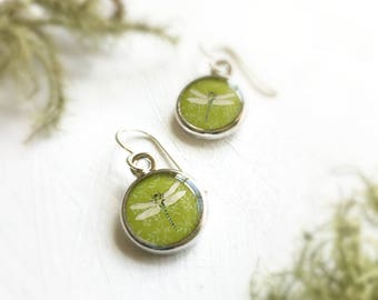 Nature Gift, Green Dragonfly Earrings, Mothers Day Idea, Silver Earrings, Original Dragonfly Art, Painted Pendant, Chartreuse Earrings