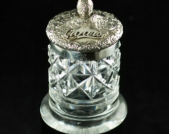 Antique English A. W. Pennington Cut Crystal Cigar Jar Humidor with Sterling Silver Repousse Lid circa 1896