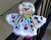 Handmade Raggedy Annie Cupcake Cloth Doll  Whimical Art Doll