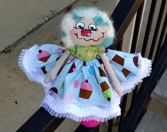 Handmade Raggedy Annie Cupcake Cloth Doll  Whimical Art Doll