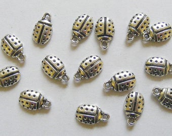 15 Metal Antique Silver Ladybird  Charms -  12mm