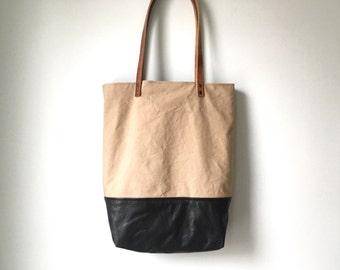 Tote Bag - Repurposed Tan Canvas and Black Leather