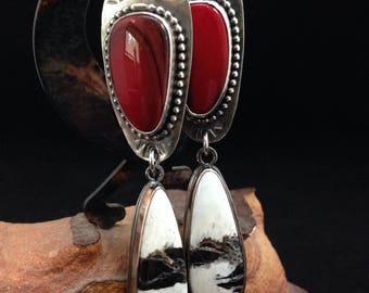 Handmade Jewelry, Southwestern, Boho, Red Rosarita, White Buffalo Earrings, Dangle Earrings, One of A Kind, Hand Stamped Jewelry