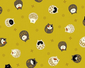 Neko III - Cats Bundled Mustard Yellow with Metallic Accents from Quilt Gate