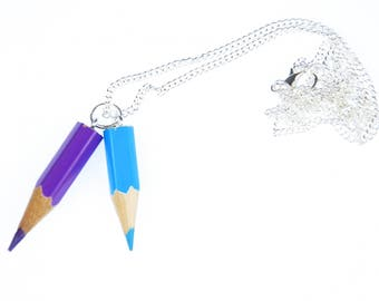 Crayon Necklace enrollment Miniblings painting school Upcycling 60cm