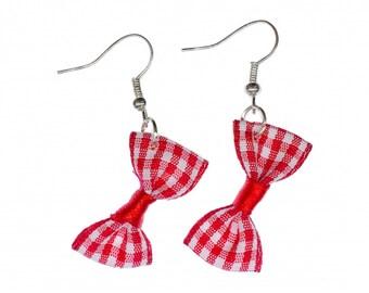 Loop earrings checkered Miniblings bow red textile Vintage Retro