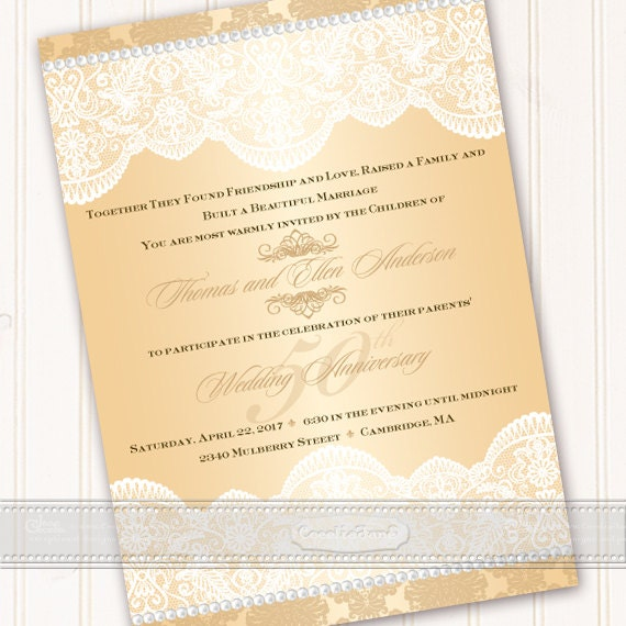 wedding invitation, champagne and lace wedding invitation, 50th anniversary party invitations, champagne party invitations, IN537